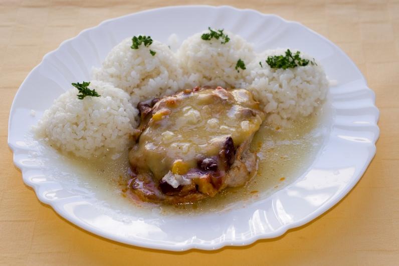 Bravčový mexický rezeň, ryža