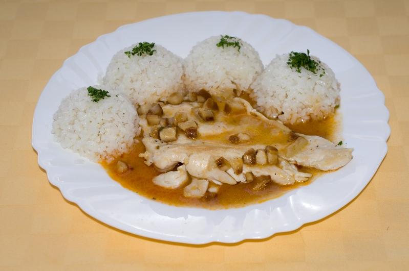 Kuracie prsia na bavorský spôsob, ryža