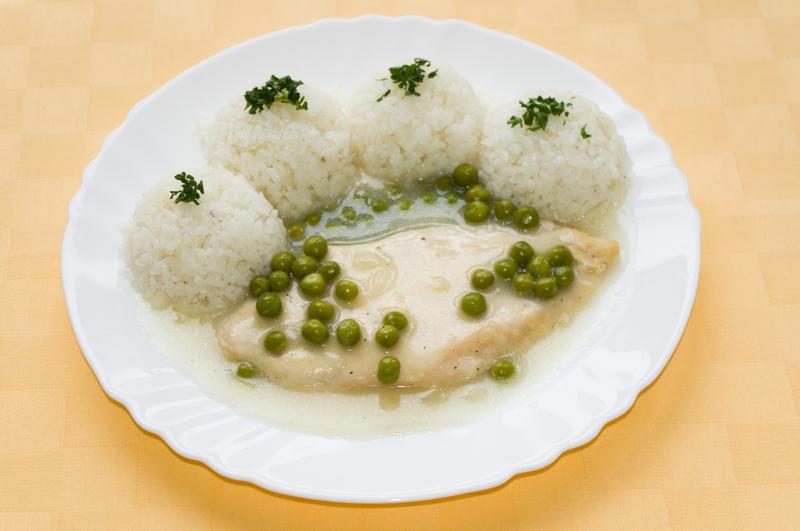 Kuracie prsia na hrášku, ryža