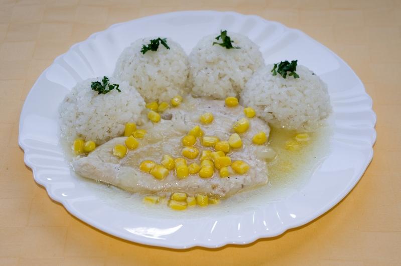 Kuracie prsia na kukurici, ryža