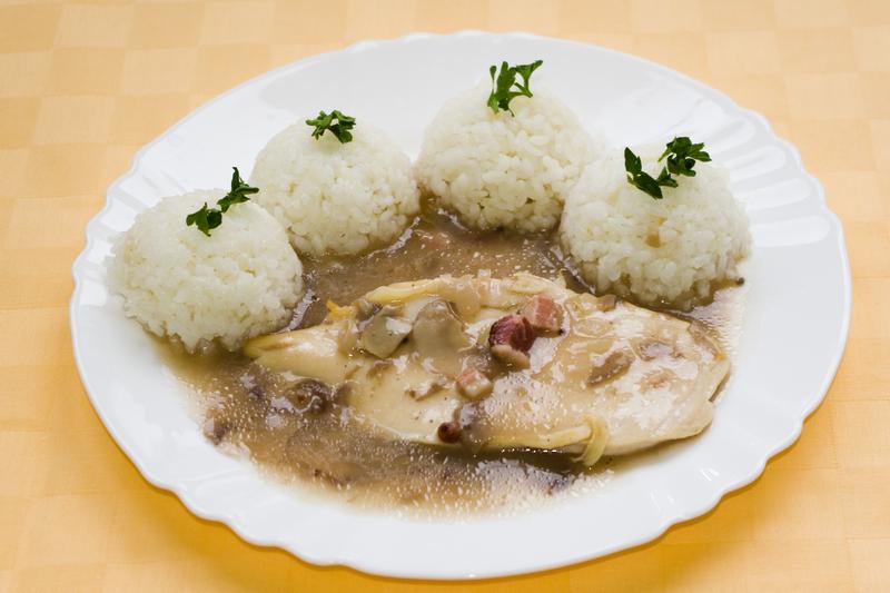 Kuracie prsia na poľovnícky spôsob, ryža