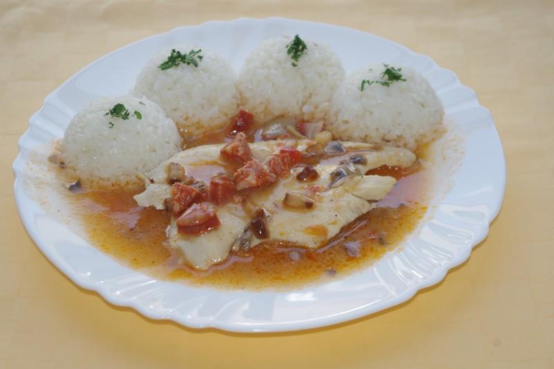 Kuracie prsia na vinohradnícky spôsob, ryža