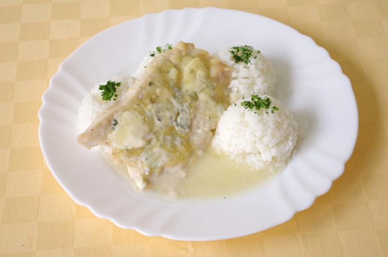 Kuracie prsia zapečené so syrom niva, ryža