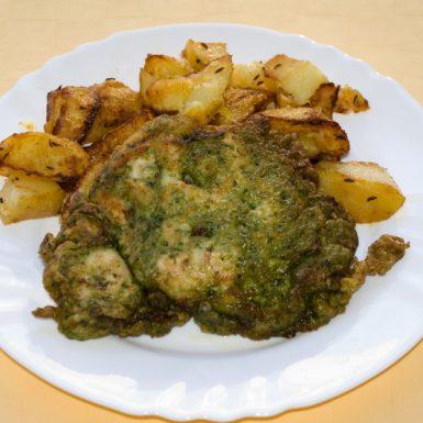 Moršací-rezeň-v-špenátovom-cestíčku-pečené-zemiaky