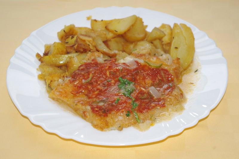 Pangasius na dalmátsky spôsob, pečené zemiaky