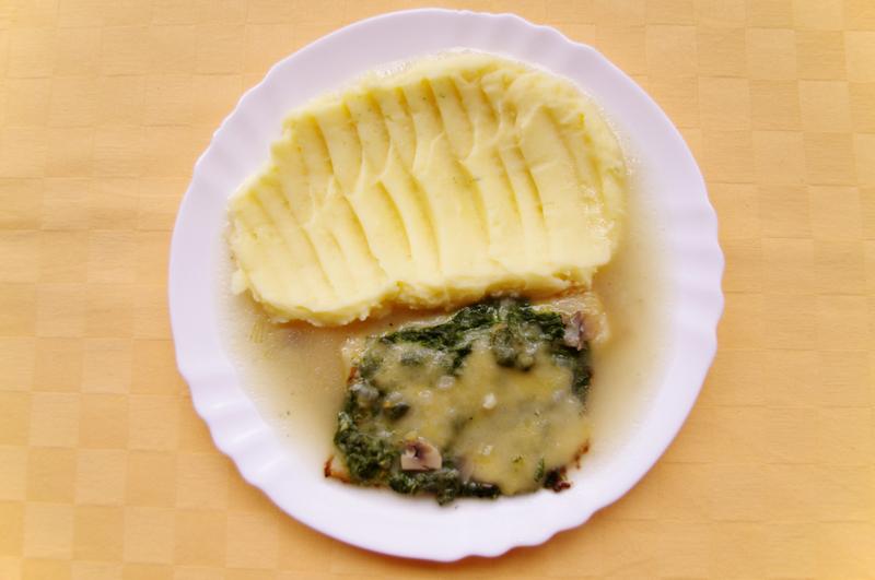Pangasius na florentínsky spôsob, zemiaková kaša