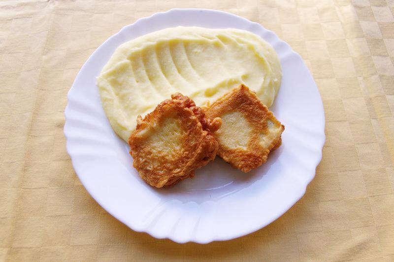 Tofu v cestíčku, zemiaková kaša